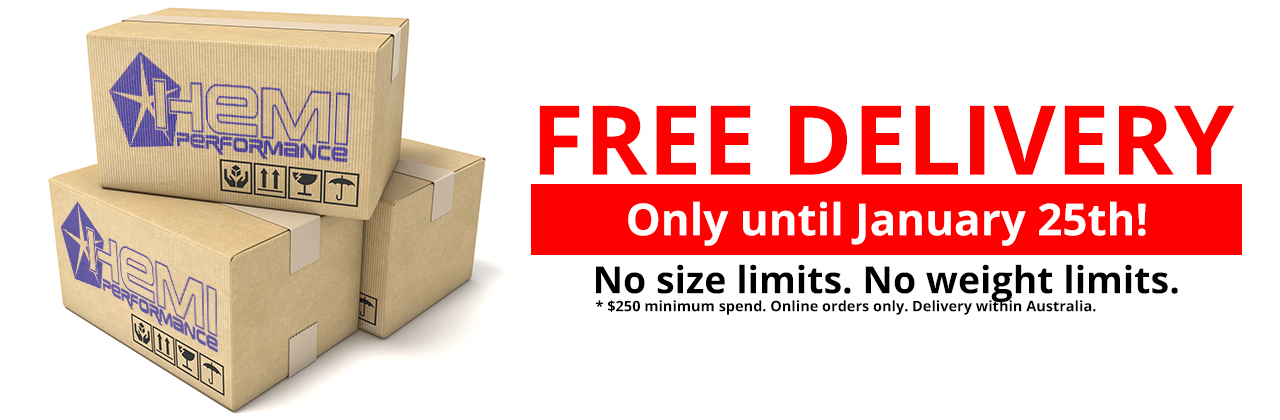 FREE DELIVERY. ENDS January 25! No size limits. No weight limits. * $200 minimum spend. Online orders online. Delivery within Australia.