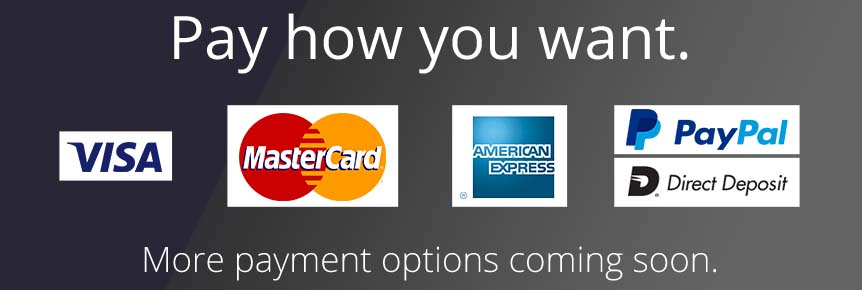 Pay how you want. We accept Visa, Mastercard, American Express, PayPal and Direct Deposit. More payment options coming soon.