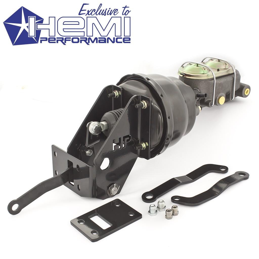 "Classic Black Brake Master Cylinder, 7"" Dual Diaphragm Booster & Offset Bracket Kit : suit AP5-CM (Slant 6 and Small Block)"