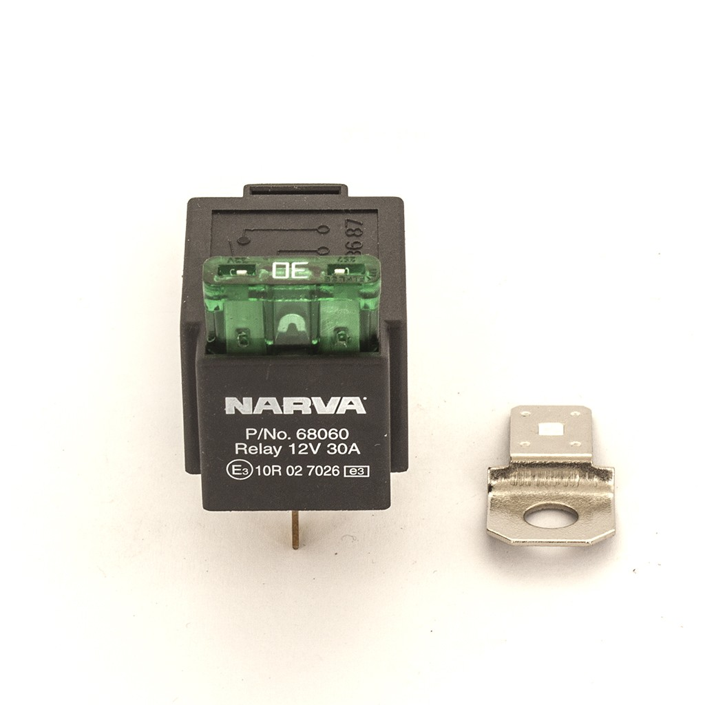 NARVA 12V 30A 4 Pin Fused Relay (Part# 68060BL) - Hemi Performance on