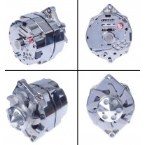 Chrome Alternator with Billet Alloy Fan : 100 AMP : GM/Delco style