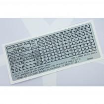 "Tyre Pressure Placard Decal : suit VH/VJ/VJ/VK/CL/CM : ""CHARGER, VALIANT SEDAN 245,265-2BBL"""