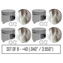 "Cast Alloy Flat-Top Piston Set : suit Small Block 318ci (.040"" / 3.950"")"