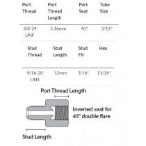 "Brake Tube Nut Thread Adaptor : Male 9/16"" UNS, Female 3/8 - 24"" NF"