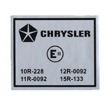 "Chrysler Electronic Equipped ""E-Code"" Decal : suit VK/VK/CL/CM"