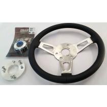 Complete Steering Wheel Kit, Leather Stitched : 3 Spoke Look-alike (Nostalgia series) : Chrome Mopar Centre  : suit VH/VJ/VK/CL/CM