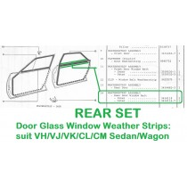 REAR SET of Door Glass Window Weather Strips : suit VH/VJ/VK/CL/CM Sedan/Wagon