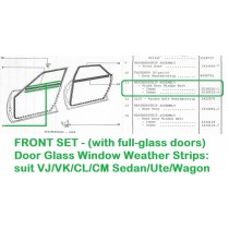 FRONT SET of Door Glass Window Weather Strips : suit VJ/VK/CL/CM Sedan/Ute/Wagon - with full-glass doors