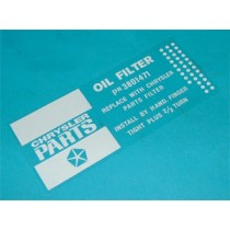 Oil Filter Decal : Z96 Filters