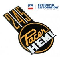 """""""245 Pacer Hemi"""" Hood Decal : VG Pacer A84/88 (Hot Mustard)"""