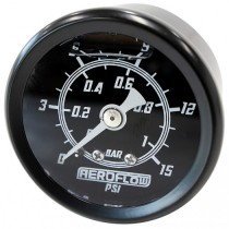 "1-1/2"" Mechanical Pressure Gauge (0 to 15 PSI) - Liquid Filled, Black Face, White Pointer"
