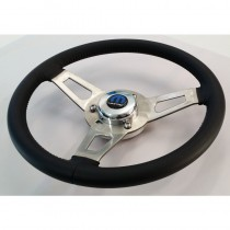 Nostalgia Series - Leather Steering Wheel Kit : Includes Mount Plate and Mopar Chrome Centre Cover : Suits AP5/AP5/VC/VE/VF