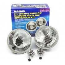 "Narva Halogen Headlamp Conversion Kit : 5-¾"" H4 (146mm - High/Low 60/55w)"