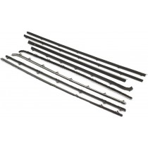 Reproduction Door Glass Window Weather Strip Full Set : suit VF/VG Hardtop (with chrome outer)