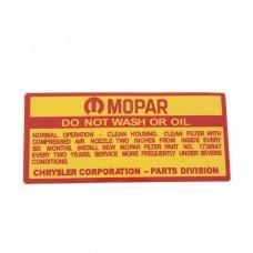 mopar do not wash or oildecal ap6.vc.ve 116.88642.jpg