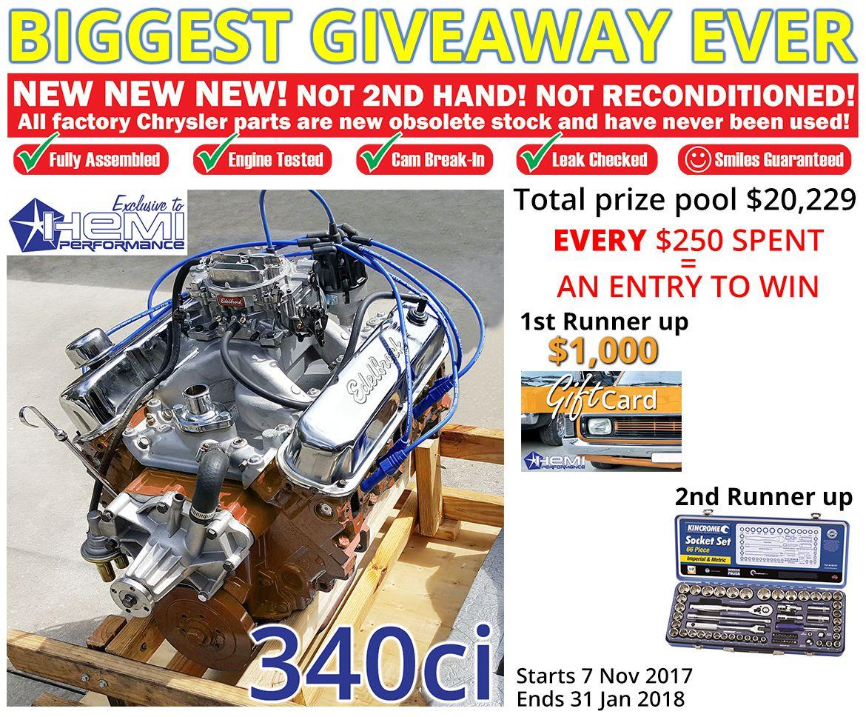 win a 340ci turn key crate engine hemi performance. Black Bedroom Furniture Sets. Home Design Ideas
